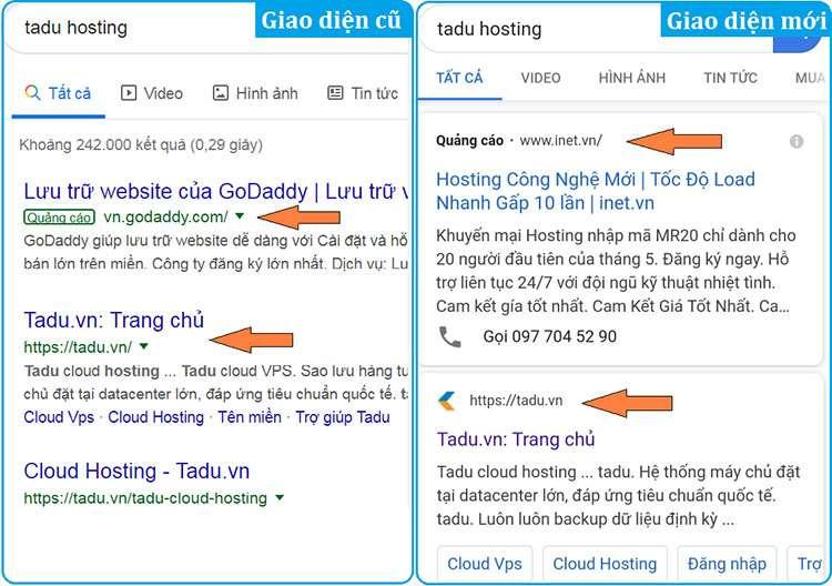 google cập nhật giao diện trang kết quả tìm kiếm