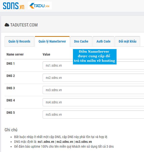trỏ tên miền về hosting bằng nameserver