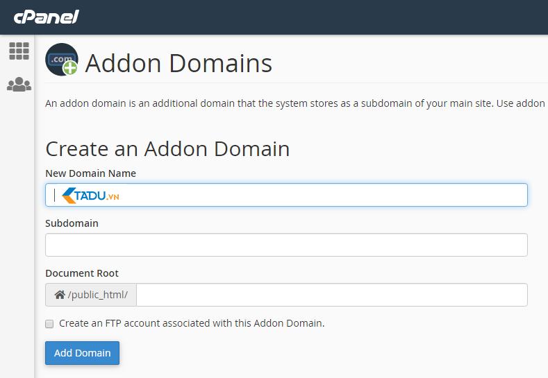thêm domain vào host mới