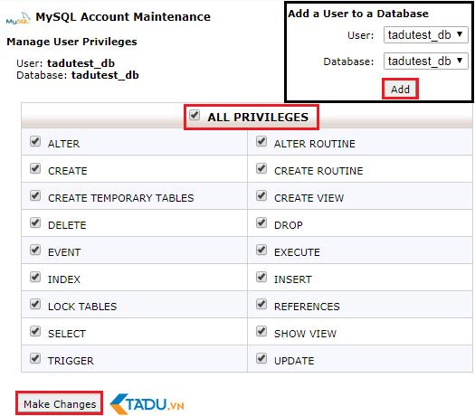 cấp quyền truy cập database cho user trên host mới