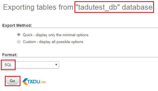 tải database trên host WordPress