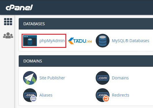chuyển host WordPress phpMyAdmin