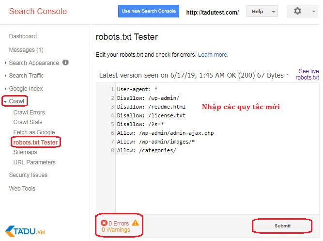 kiểm tra robots.txt bằng Google Search Console