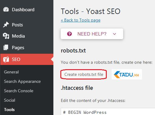 tạo file robots.txt bằng yoast seo