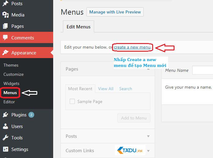 tạo menu trong wordpress