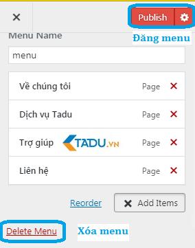 tạo menu trong wordpress live preview