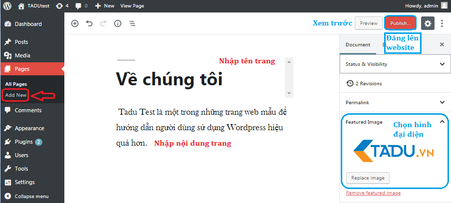 tạo menu trong wordpress thêm trang mới