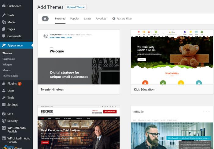 cài theme tạo website bằng wordpress