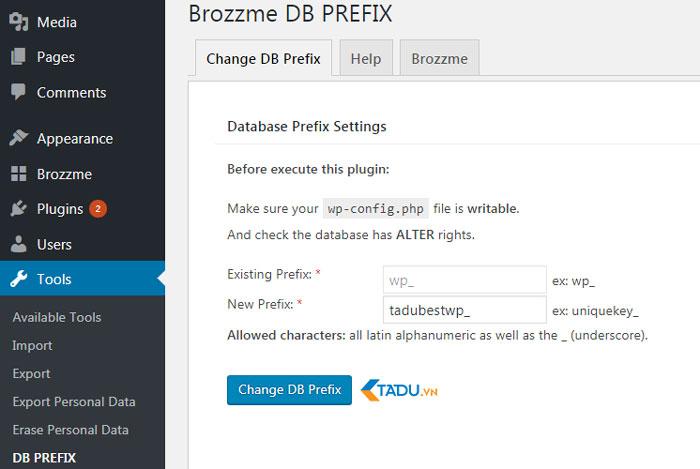 bảo mật website wordpress với brozzme db prefix