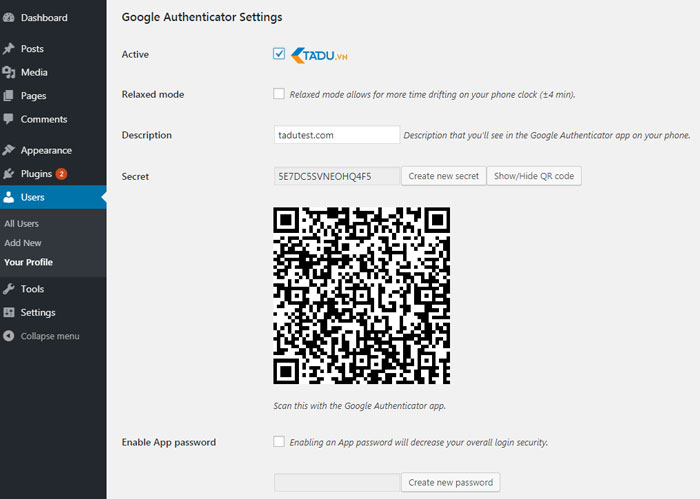 bảo mật wordpress với google authenticator