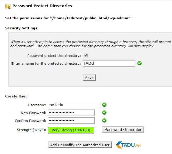 đặt mật khẩu thư mục bảo mật WordPress